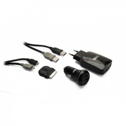 KIT DI RICARICA USB PER SMARTPHONE E TABLET NERO